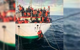"""Jun Rong"" had a crew of 69, and 64 were rescued and taken to Montevideo where they underwent medical attention, and are waiting to fly back to their homes."