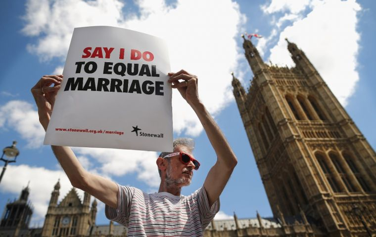 Equal marriage was legalized in England and Wales in 2013, and Scotland in 2014, but the laws did not automatically extend to the British Overseas Territories