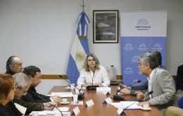 The trip wishes to establish closer relations with Falkland Islanders, even personal links, and work on a positive agenda, said lawmaker Cornelia Schmidt Liermann (center)
