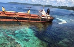MV Solomon Trader ran aground on Feb 5 while loading bauxite at remote Rennell Island, some 240km south of the Pacific nation's capital Honiara