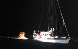 The pictures show a rescue boat from the Seabed Constructor approaching the French yacht Paradise on Tuesday night, when injured Ms Pascale was rescued