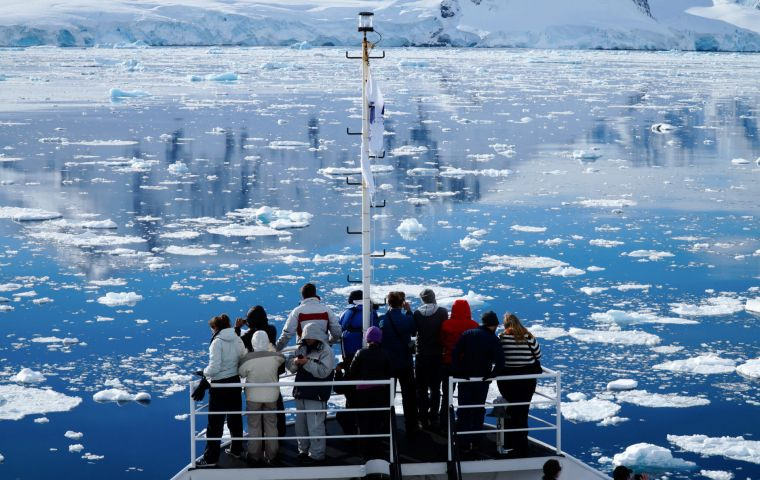 Chinese tourists during an Antarctica cruise