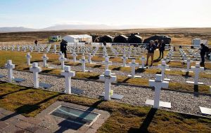 A view of the Argentine military cemetery at Darwin with all the tents and logistics set up by the Falklands government and British Forces. Pic: Infobae