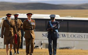 The highest ranking British military officers stationed in the Falklands joined the event which included a Guard of Honor from the Scottish Infantry Company