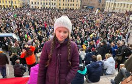 In Stockholm, Swedish teen activist Greta Thunberg who inspired the protests, warned that time was running out. (Pic: Svante Thunberg/Twitter)