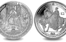 The two-coin set consists of images from the Great Seals of Queen Victoria. The first coin shows the reverse of the Great Seal of Queen Victoria