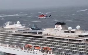 Passengers were hoisted one by one from the deck of the ship and airlifted to a village located to the north of the town of Molde on the Norwegian west coast.