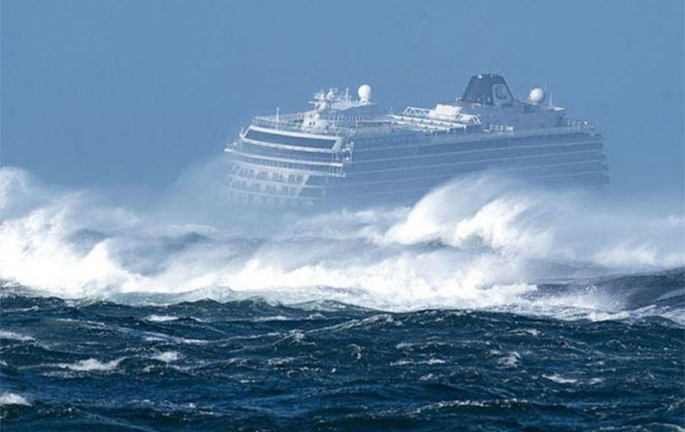 The Viking Sky, with 1,373 passengers and crew on board, had sent out a mayday signal as it drifted towards land, said Norways' maritime rescue service (Pic Reuters)