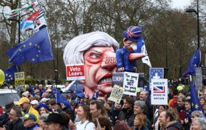 The march comes as May, who opposes a second referendum on Britain's EU membership, is easing away from plans to hold a third vote
