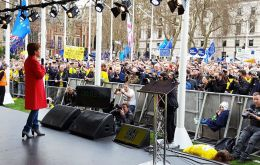 "Speaking from a stage in Parliament Square, Ms Sturgeon said: ""the voice of the 48% who voted remains across the UK is being ignored"" (Pic N.Sturgeon Twitter)"