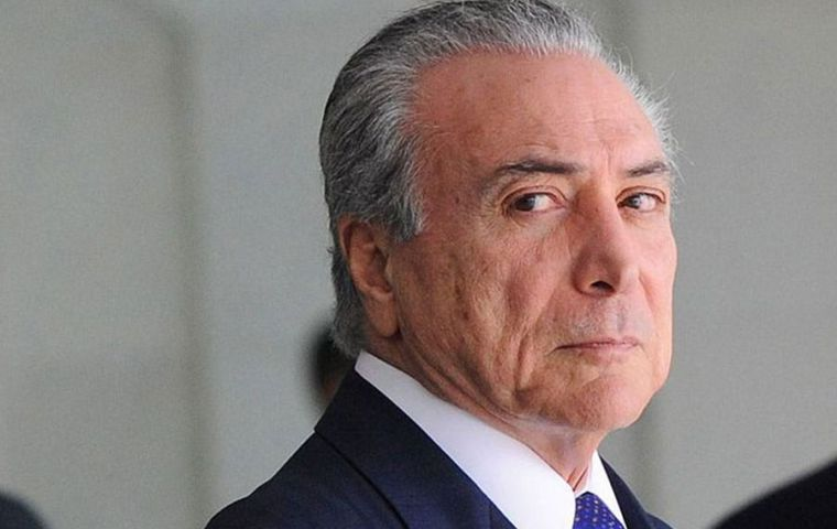 "Prosecutors have accused ex president Temer, (2016/18) of leading a ""criminal organization"" that had received or arranged some US$ 472 million in bribes"