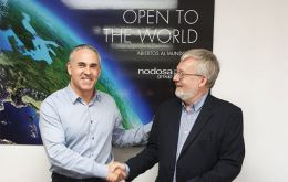 Stewart Wallace (right) in representation of Fortuna Ltd during the contract ceremony at the Nodosa yard offices