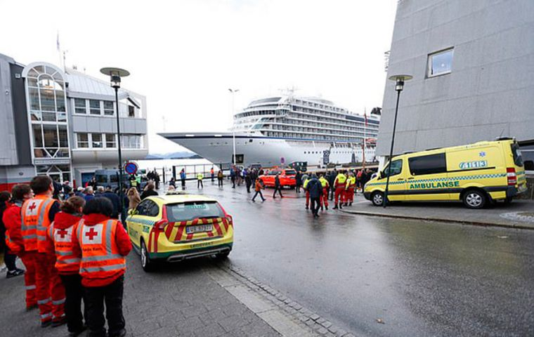 Hundreds of people were rescued from Viking Sky after it sent out a distress call on Saturday. The vessel later restarted three of its four engines and docked in Molde (Pic EPA)