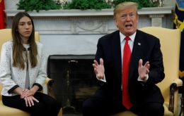 """Russia has to get out,"" Trump told reporters in the Oval Office, where he met with Guaido's wife, Fabiana Rosales"