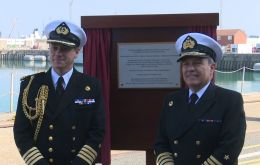 Admiral Sir Philip Jones and special guest Admiral Julio Leiva Molina unveiled on Sunday the HQ Portsmouth Flotilla as the Cochrane Building.