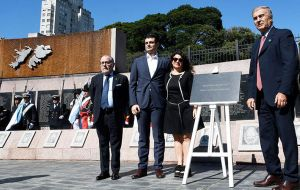 Foreign minister Jorge Faurie, Human Rights Secretary Claudio Avruj, Fernanda Araujo and Defense Minister Aguad