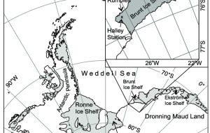 The ice shelf rests on top of the Weddell Sea and flows off the mainland, moving outwards from the centre of Antarctica