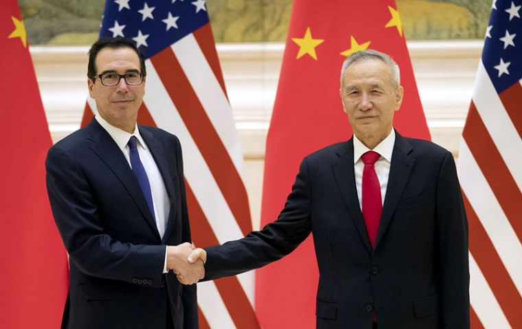 "Mnuchin said progress continues to be made, including a ""productive"" call with China's Vice Premier Liu He. The discussions would be resumed on Thursday"