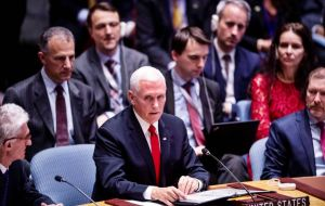 US Vice-president Mike Pence told UN Security Council on Wednesday, US would announce additional action to hold Cuba accountable for its support of Maduro