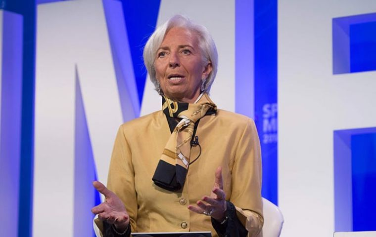 """We are now beginning to see the program actually work,"" Lagarde told reporters at the start of the IMF-World Bank spring meeting in Washington."