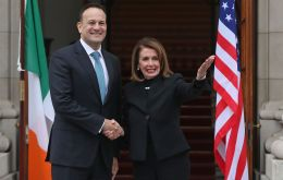 Ms Pelosi was expected to meet Taoiseach (Irish Prime Minister) Leo Varadkar and it is understood Brexit will be one of the main topics of discussion.