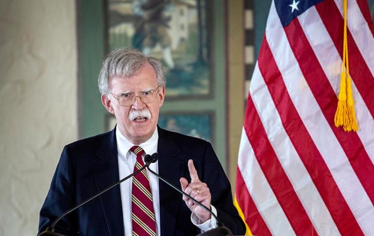 """The troika of tyranny — Cuba, Venezuela and Nicaragua — is beginning to crumble,"" Bolton said in a hard-hitting speech near Miami"