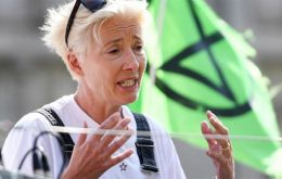 """Our planet is in serious trouble,"" Thompson said amid a crowd of 300 activists. She addressed them from a pink boat in the middle of London's Oxford Circus. (Pic EPA)"