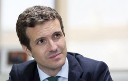 """Those who want to break up Spain have their favorite candidate in Sanchez,"" conservative Pablo Casado said, standing behind a lectern in the studio"