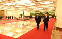 Xi met Chilean president Sebastian Piñera in the Great Hall of the People in Beijing. Piñera is on a five-day state visit to China