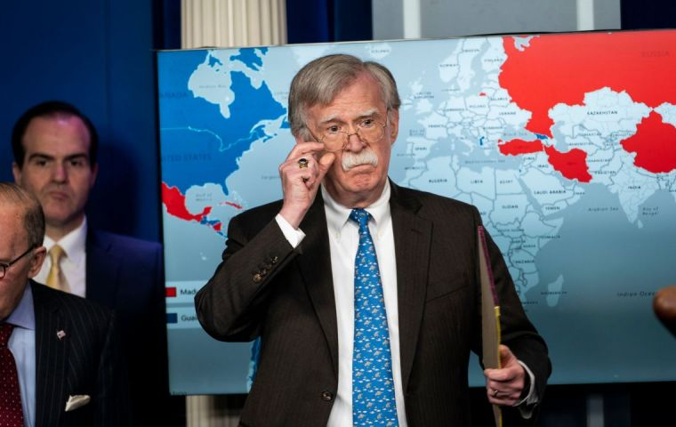 Bolton reiterated his charge that the Castro government is propping up Venezuelan President Nicolas Maduro with thousands of security forces.