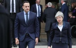 "Mrs May and Mr Varadkar expressed ""the determination of all of the people of these islands to reject violence, support peace and a better future North Ireland"""