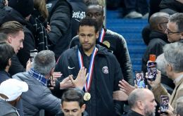 As the PSG squad walked up to receive their runners-up medals, Neymar initially pushed a supporter's hand away as he tried to record him on his mobile phone