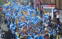 "All Under One Banner describes itself as a ""pro-independence organization whose core aim is to march at regular intervals until Scotland is free"""