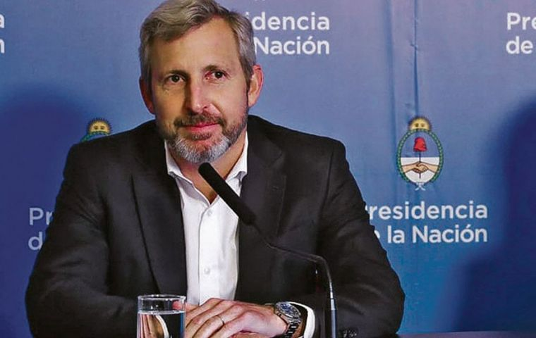 "Interior Minister Rogelio Frigerio said the government wanted to negotiate a ""basic consensus"" with the Peronist opposition over the country's direction"