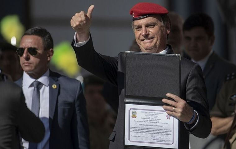 Bolsonaro canceled a visit to New York where he was to be honored as person of the year by the Brazilian-American Chamber of Commerce, after criticism of his past