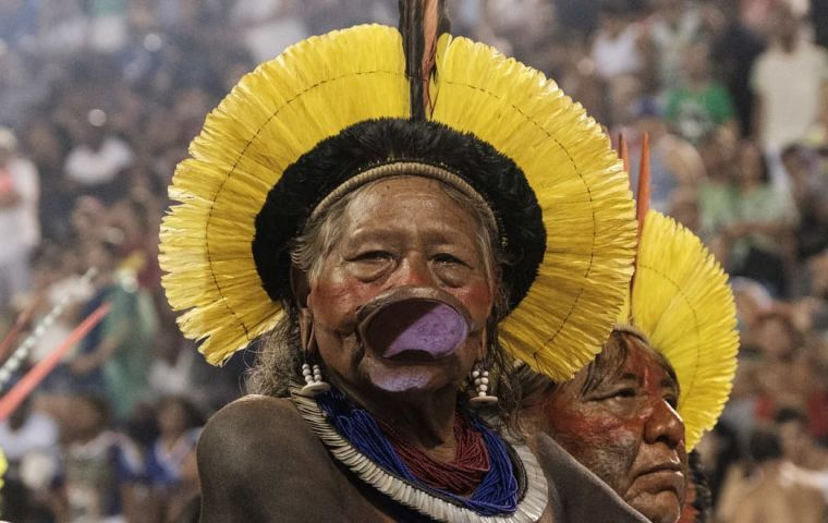 Kayapo chief, recognizable through his traditional lip plate and feather headdress, will seek to raise funds to better protect the Amazon's Xingu reserve