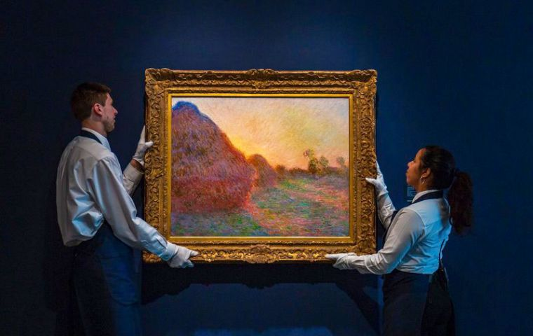 "Monet painted his 25 ""Meules"" compositions during the winter of 1890-1891 at his home in Giverny, in France's Normandy region.(Pic AP)"