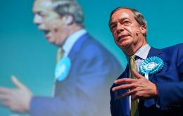 Ex UK Independence Party leader Farage became the latest political figure on Monday to be doused with a milkshake while campaigning for his new Brexit Party