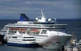 Cruise vessels anchored at Punta Arenas harbor