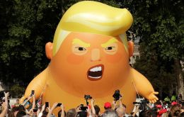 "The visit has triggered calls for mass protests in London; demonstrations are planned in Trafalgar Square and floating the 20-foot inflatable ""Trump Baby"""