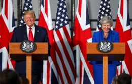 "Speaking next to Mrs May at the Foreign Office Trump said trade between the two long-time allies could be ""two and even three times what we are doing now""."