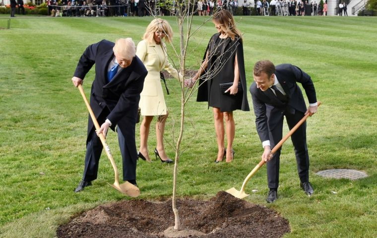 The two presidents during the planting ceremony at the White House garden