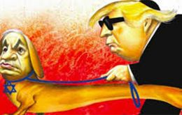 The cartoon depicted Mr Netanyahu as a guide dog wearing a Star of David collar and leading a blind US President Donald Trump - who was wearing a kippah