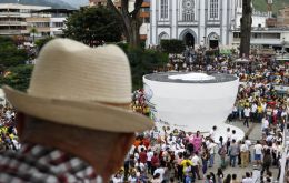 A massive coffee cup that can hold up to 20 tons of coffee was built in Chinchina's town plaza, a community in the heart of Colombia's coffee-growing region.