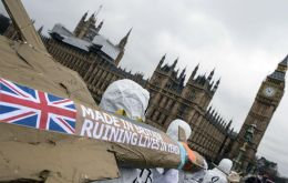 A group protesting against UK arms sales in London. Britain is the world's sixth largest seller of arms, after the United States, Russia, France, Germany and China, according to the Stockholm' SIPRI I