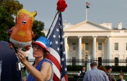 "The antiwar group Code Pink said it had secured permits to fly a ""Baby Trump"" blimp, depicting the president in diapers, during his speech<br />"