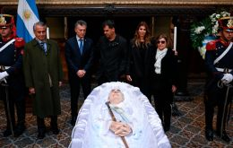 President Mauricio Macri pays tribute to De la Rua during the state funeral at the Congress building.
