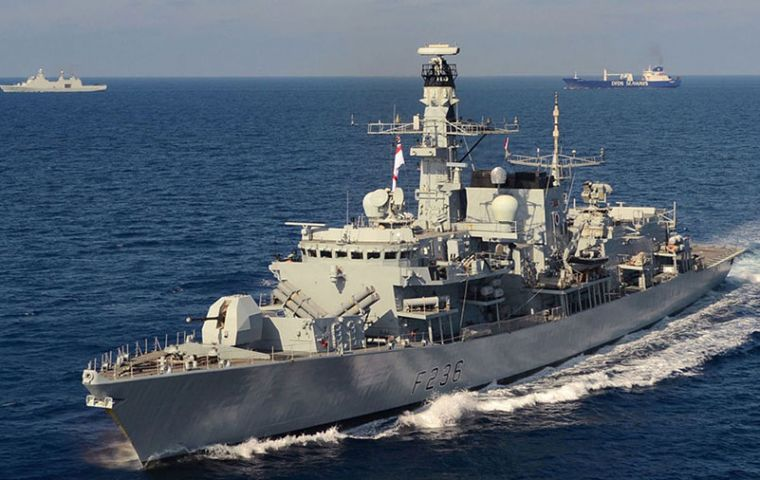 The Royal Navy HMS Montrose pointed its guns at the boats and warned them over radio, at which point they dispersed.