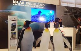 The Falklands stand at the British Pavilion last year, promoting tourism to the Islands