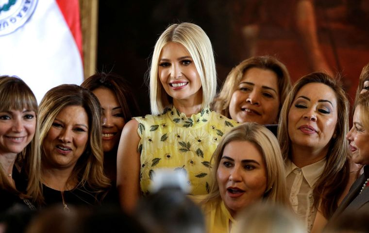 "Ivanka Trump said financial commitments to the Women's Prosperity and World Development Initiative would be doubled with ""an additional US$ 500 million"""